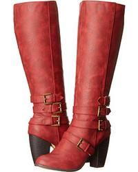 Botas de caña alta de cuero rojas