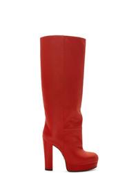 Botas de caña alta de cuero rojas de Gucci