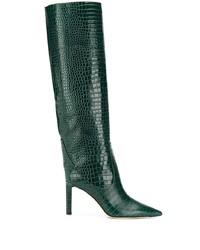 Botas de caña alta de cuero verde oscuro de Jimmy Choo