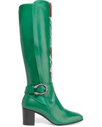 Botas de caña alta de cuero verdes de Gucci