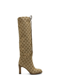 Botas de caña alta de lona marrón claro de Gucci