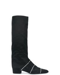 Botas de caña alta de satén negras de Nina Ricci