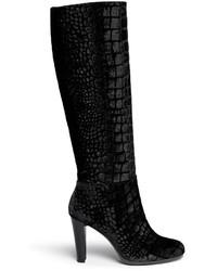 Botas de caña alta de terciopelo negras