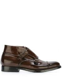 Botas de cuero en marrón oscuro de Silvano Sassetti
