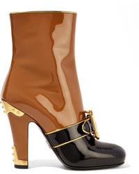 Botas de cuero marrón claro de Prada