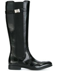 Botas de cuero negras de Dolce & Gabbana