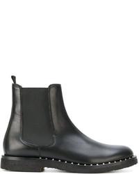 Botas de cuero negras de Valentino