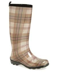 Botas de lluvia de tartán marrónes