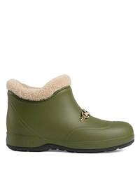 Botas de lluvia verde oliva de Gucci
