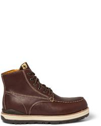 Botas de trabajo de cuero en marrón oscuro