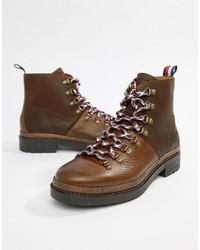 Botas de trabajo de cuero en marrón oscuro de Tommy Hilfiger