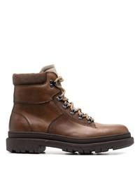 Botas de trabajo de cuero marrónes de Brunello Cucinelli