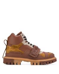 Botas de trabajo de cuero marrónes de Dolce & Gabbana