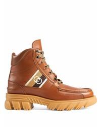 Botas de trabajo de cuero marrónes de Gucci
