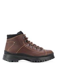 Botas de trabajo de cuero marrónes de Prada
