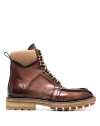 Botas de trabajo de cuero marrónes de Santoni
