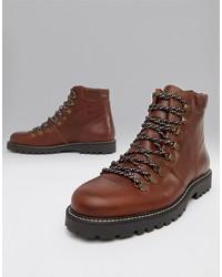 Botas de trabajo de cuero marrónes de Selected Homme