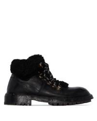 Botas de trabajo de cuero negras de Dolce & Gabbana
