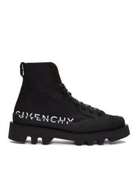 Botas de trabajo de cuero negras de Givenchy
