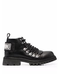 Botas de trabajo de cuero negras de Moschino