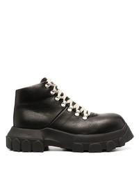 Botas de trabajo de cuero negras de Rick Owens