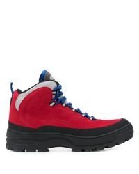 Botas de trabajo de cuero rojas de Tommy Jeans