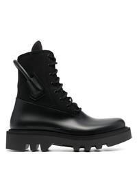 Botas de trabajo de lona negras de Givenchy