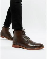 Botas formales de cuero en marrón oscuro de ASOS DESIGN