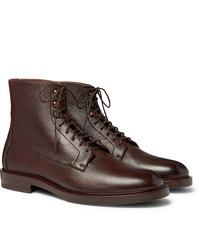 Botas formales de cuero en marrón oscuro de Brunello Cucinelli