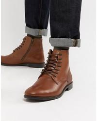 Botas formales de cuero marrónes de ASOS DESIGN