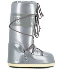 Botas para la nieve de cuero plateadas de Moon Boot