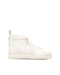 Botas planas con cordones de cuero blancas de adidas