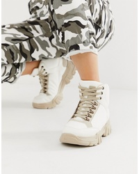 Botas planas con cordones de cuero blancas de ASOS DESIGN