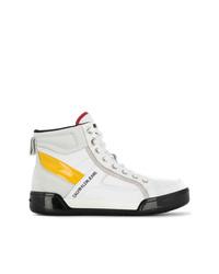 Botas planas con cordones de cuero blancas de Calvin Klein Jeans