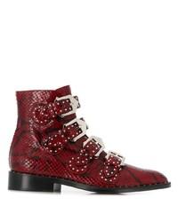 Botas planas con cordones de cuero con print de serpiente rojas de Givenchy