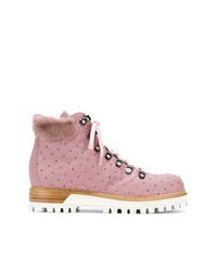 Botas planas con cordones de cuero con tachuelas rosadas de Lesilla