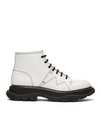 Botas planas con cordones de cuero gruesas blancas de Alexander McQueen