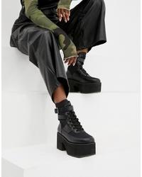 Botas planas con cordones de cuero gruesas negras de ASOS DESIGN