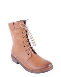 Botas planas con cordones de cuero marrón claro