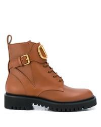 Botas planas con cordones de cuero marrónes de Valentino