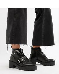 Botas planas con cordones de cuero negras de ASOS DESIGN