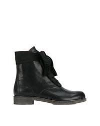 Botas planas con cordones de cuero negras de Chloé