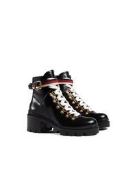 Botas planas con cordones de cuero negras de Gucci