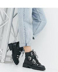 Botas planas con cordones de cuero negras de Raid Wide Fit