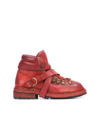 Botas planas con cordones de cuero rojas