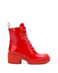 Botas planas con cordones de cuero rojas de Marc Jacobs