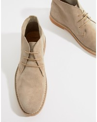 Botas safari de ante en beige de Selected Homme