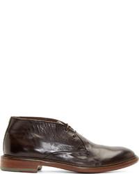 Botas safari de cuero en marrón oscuro de Paul Smith