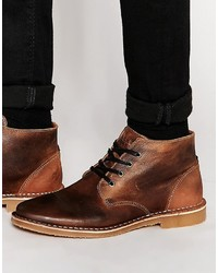 Botas safari de cuero en tabaco de Jack and Jones