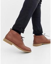 Botas safari de cuero marrónes de New Look